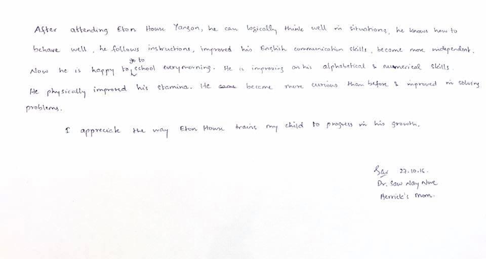 Herrick's Testimonial